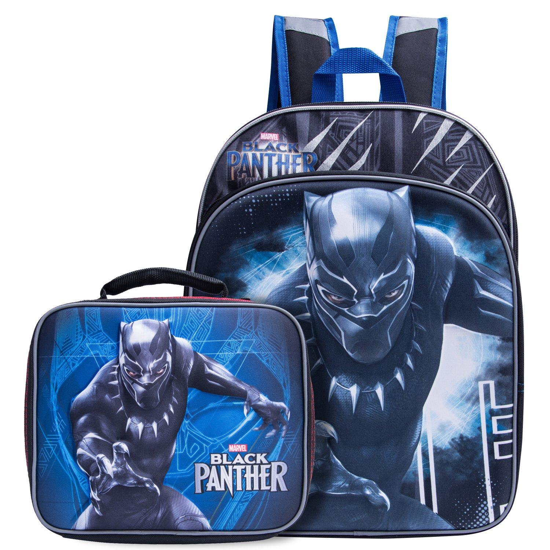 Black Panther Backpack Combo Set - Marvel Black Panther 3D Molded Backpack & Lunch Box (2 Piece Set)