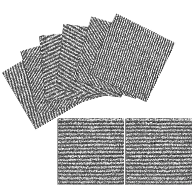 TRILUC, 12 x 12 Place and Stick Carpet Tile Squares. Non Slip Backing & Washable Floor Tile - 8 Pc Set - Gray