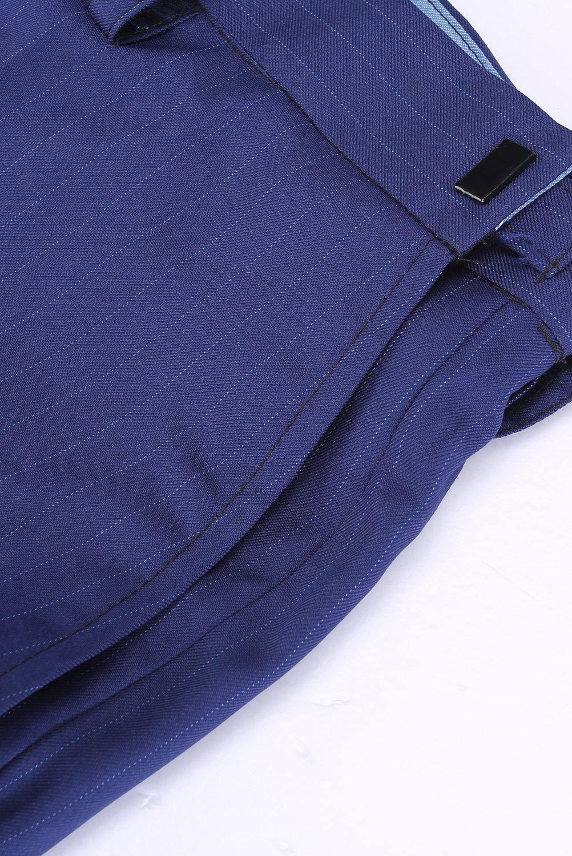 CMDC Men's 3 Pieces Business Suits Slim Fit Stripe Blazer Jacket Vest Pants Set SI137 (Blue,40) by CMDC (Image #6)