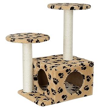 [en.casa] Rascador Para Gatos Árbol Para Gatos Trepar Sisal Juguetes - 43 x 33 x 67 cm - crema: Amazon.es: Hogar