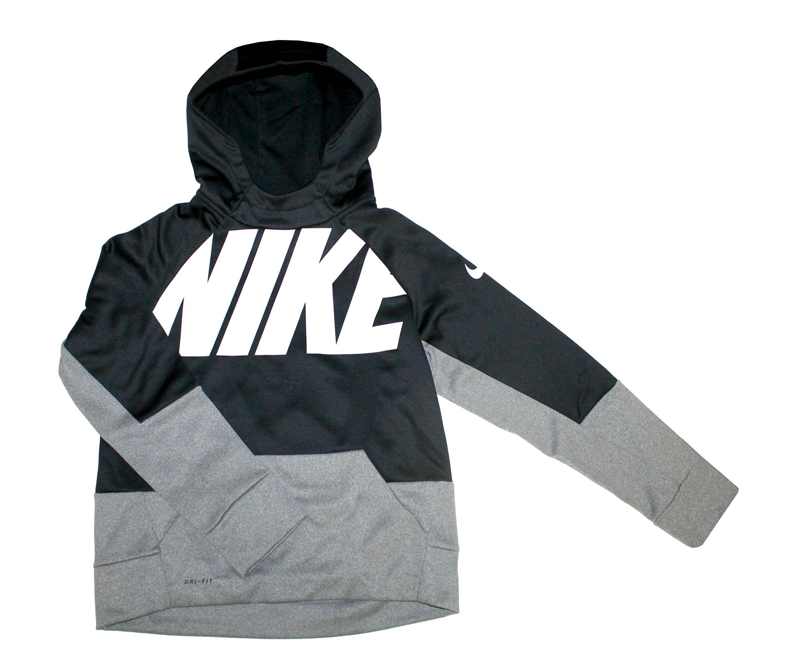 NIKE Youth Boys Therma Training Hoodie Athletic Pullover,Black/Grey White/Matte Silver,M 10/12