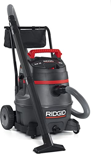 RIDGID 50348 1400RV Wet Dry Vacuum with Cart, 14-Gallon Shop Vacuum with 6.0 Peak HP Motor, Casters, Pro Hose, Drain, Blower Port, Accessory Storage