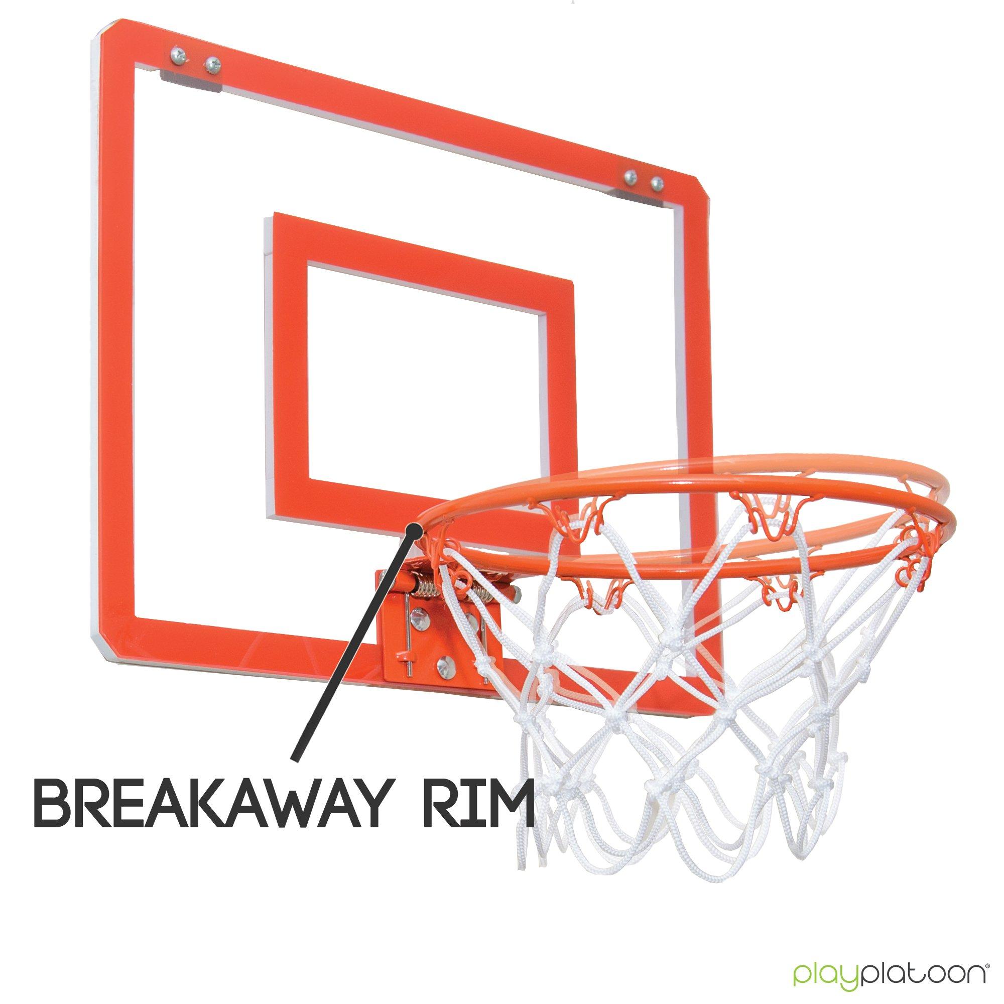 Play Platoon Mini Basketball Hoop for Door - 16 x 12 Inch Bedroom Basketball Hoop Indoors Set by Play Platoon (Image #2)