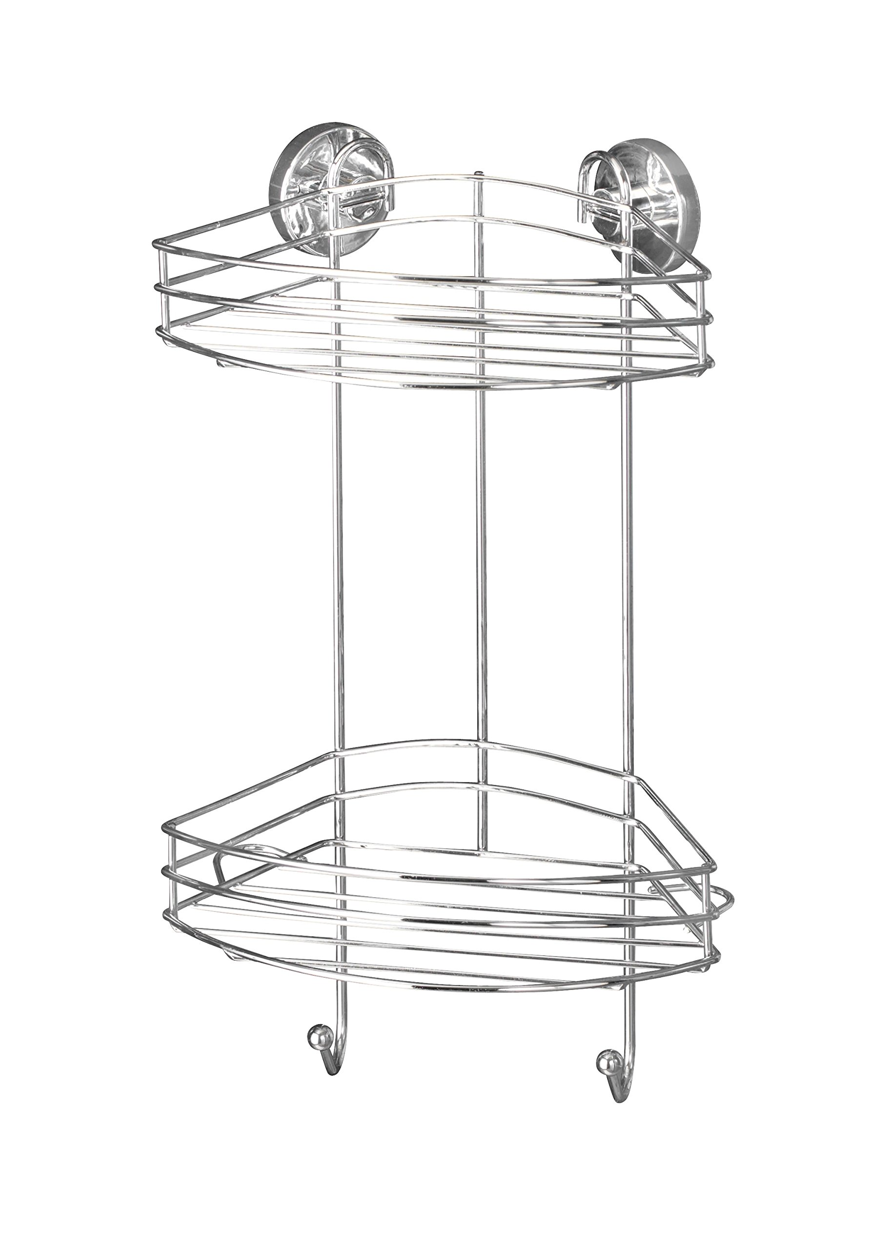 WENKO 20885100 Vacuum-Loc 2-Tier corner rack - fixing without drilling, Steel, 9.1 x 16.9 x 8.3 inch, Chrome