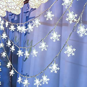 Christmas Lights,Christmas Snowflake String Lights 19.6 ft 40 LED Fairy Lights Battery Operated Waterproof for Winter Xmas Garden Patio Bedroom Party Decor Indoor Outdoor Celebration Lighting,White