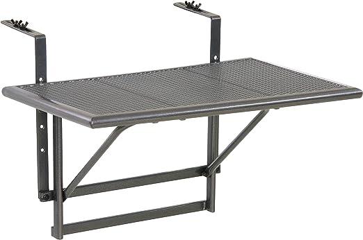 greemotion Table de balcon suspendue Toulouse 40 x 60 cm – Table de balcon  rabattable gris métal – Petite table pliante murale à suspendre – Table 2  ...