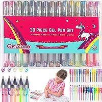 GirlZone: Gelstifte für Kinder - Set 30 Gelstifte Glitzer - Gelschreibwaren & Malset mit Etui - Vorzeichnen Gelmalstifte - Set Gel Tinte 30 Buntstifte - Tolle Kinder
