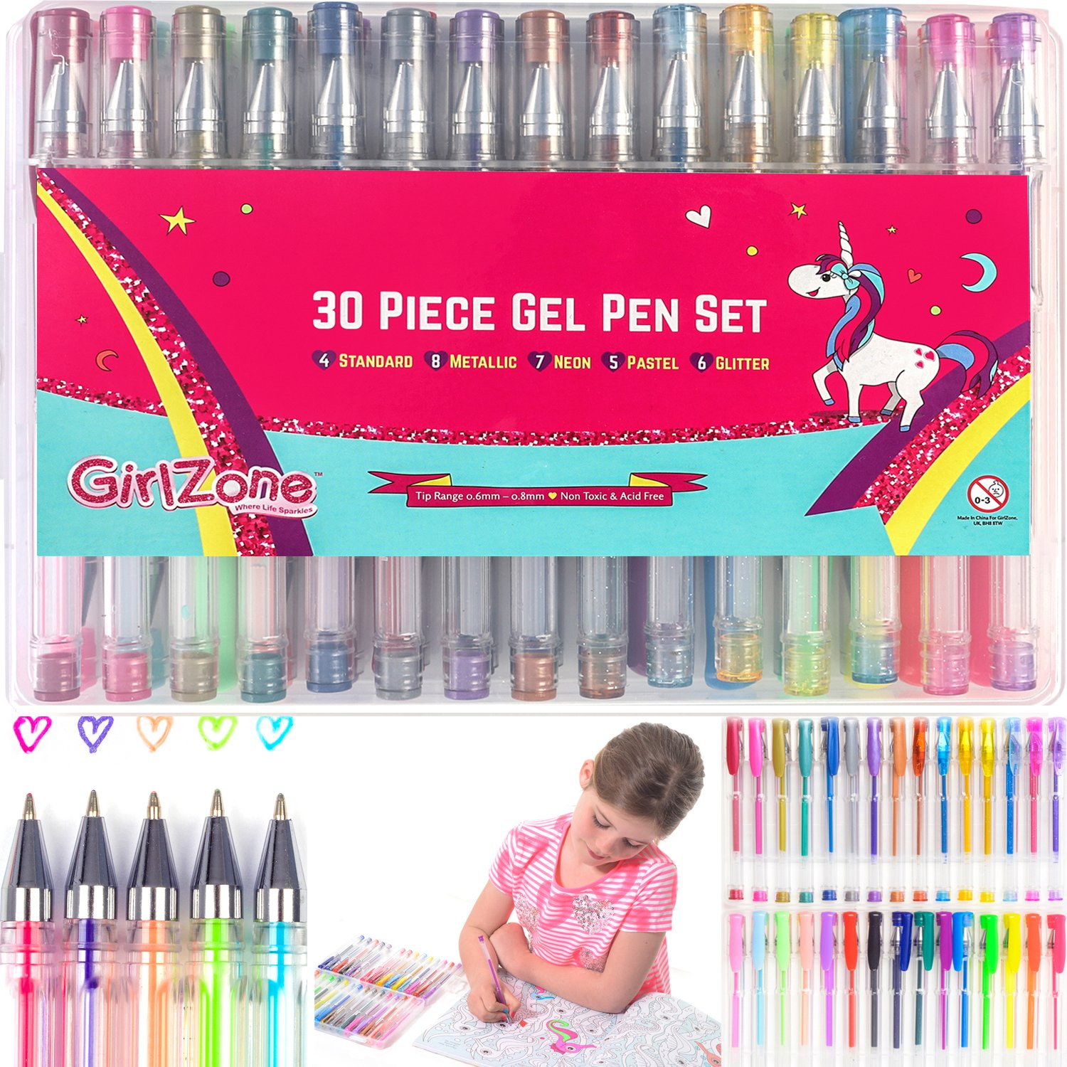 GirlZone: 30 Piece Gel Pens Set, Ideal Arts & Crafts Gift, Coloring Pens, Great Birthday Gifts, Presents for Girls Age 3 4 5 6 7 8 9 10 Years Old.