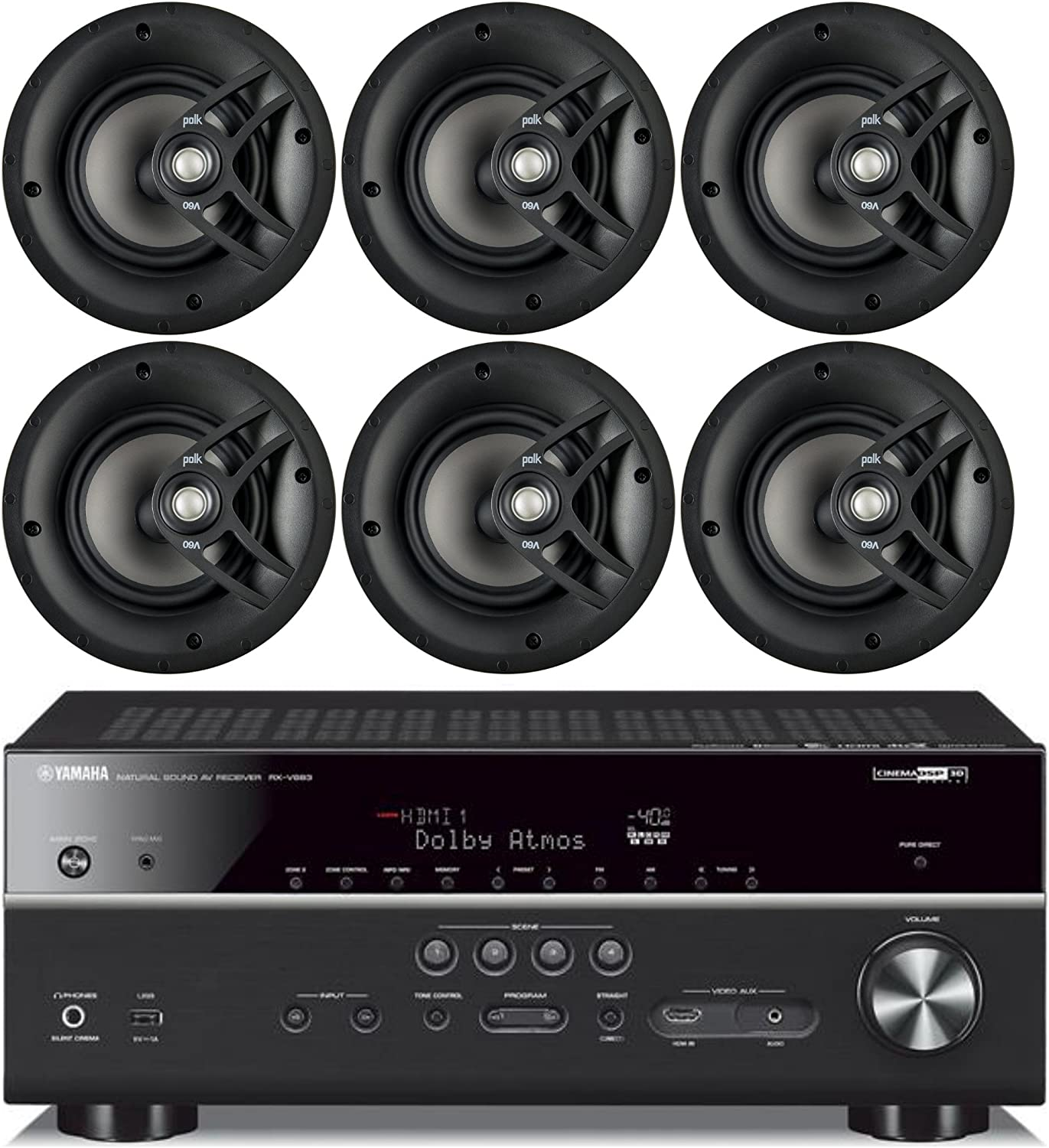 "Yamaha 7.2-Channel Wireless Bluetooth 4K Network A/V Wi-Fi Home Theater Receiver + Polk 8"" 2 Way High-Performance Natural Surround Sound in-Ceiling Speaker System (Set of 6)"