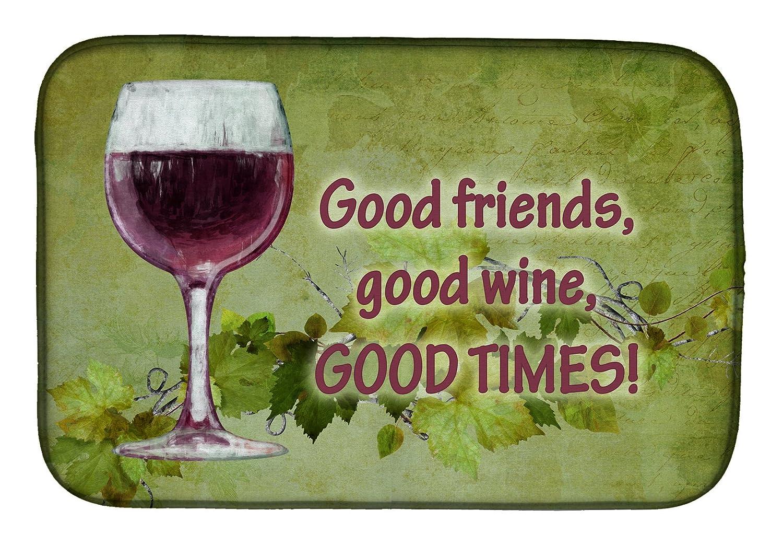Caroline 's Treasures sb3070ddm Friendsワイン、Good Timesディッシュ乾燥マット、14 x 21、マルチカラー   B07BQBVXSF