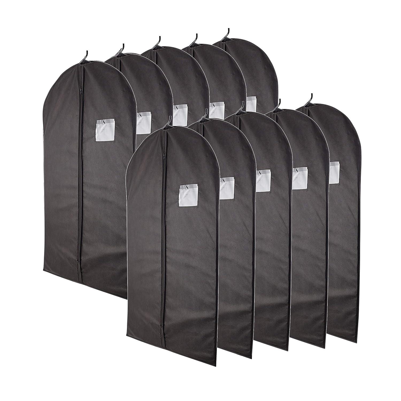 "Plixio 40"" Black Garment Bags for Breathable Storage of Suits, Dresses & Dance Costumes—Includes Zipper & Transparent Window (Pack of 10) Pilxio"