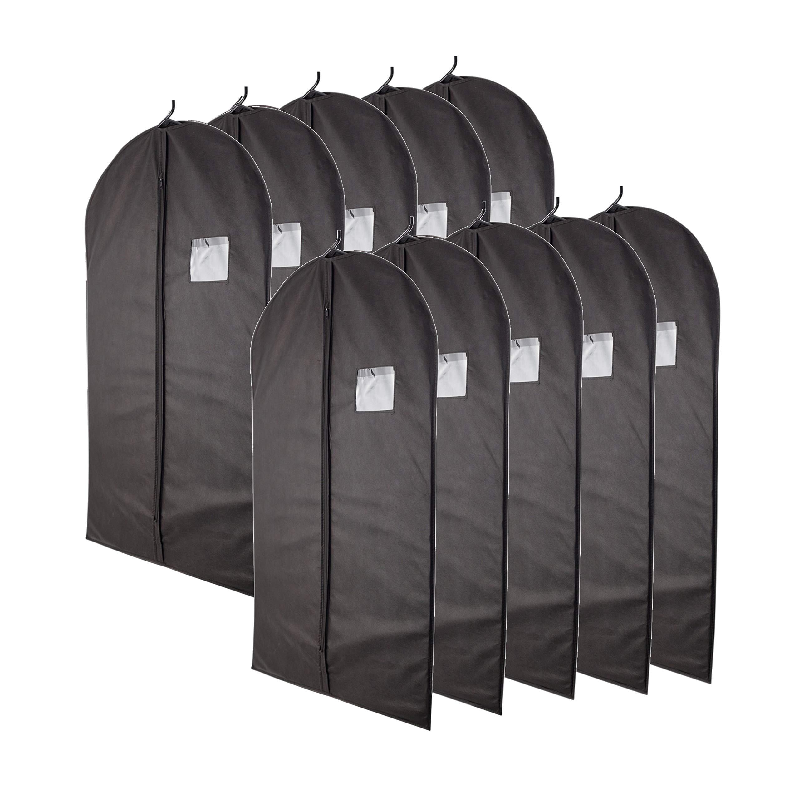 "Plixio 40"" Black Garment Bags for Breathable Storage of Suits, Dresses & Dance Costumes—Includes Zipper & Transparent Window (Pack of 10)"