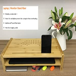 Bamboo Desk Monitor Stand Riser Organizer by Invent Smart 2 Tier Wood Computer Organizer, Laptop Stand Desk 17 Monitor Stand Desk Organizer Desktop Monitor Stand Riser Bamboo for Storage