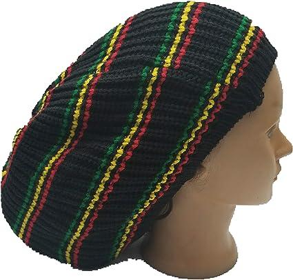 black red yellow lime green Rasta dreads dreadlocks slouch beanie tam hat