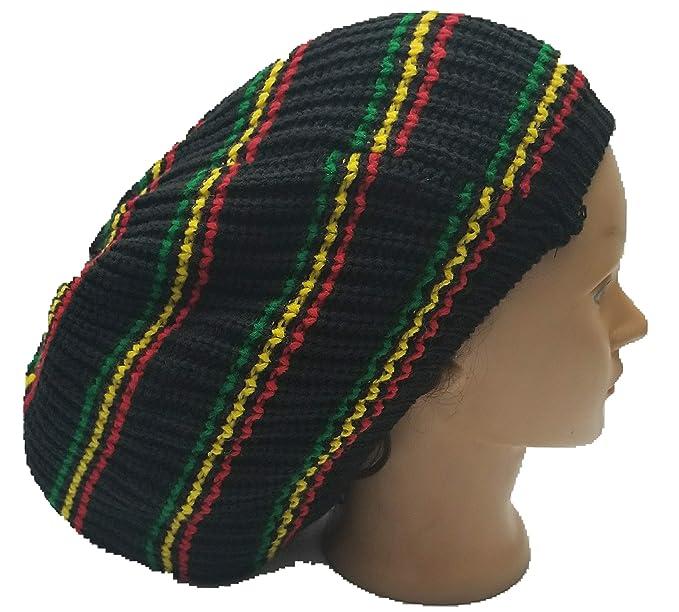 Amazoncom Multi Colored Beret Tam Hat Rasta Hippie Slouch Beanie