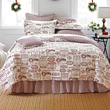 Amazon.com: Brylanehome Vintage Christmas Quilt Set (Ivory Red ... : christmas quilt set queen - Adamdwight.com
