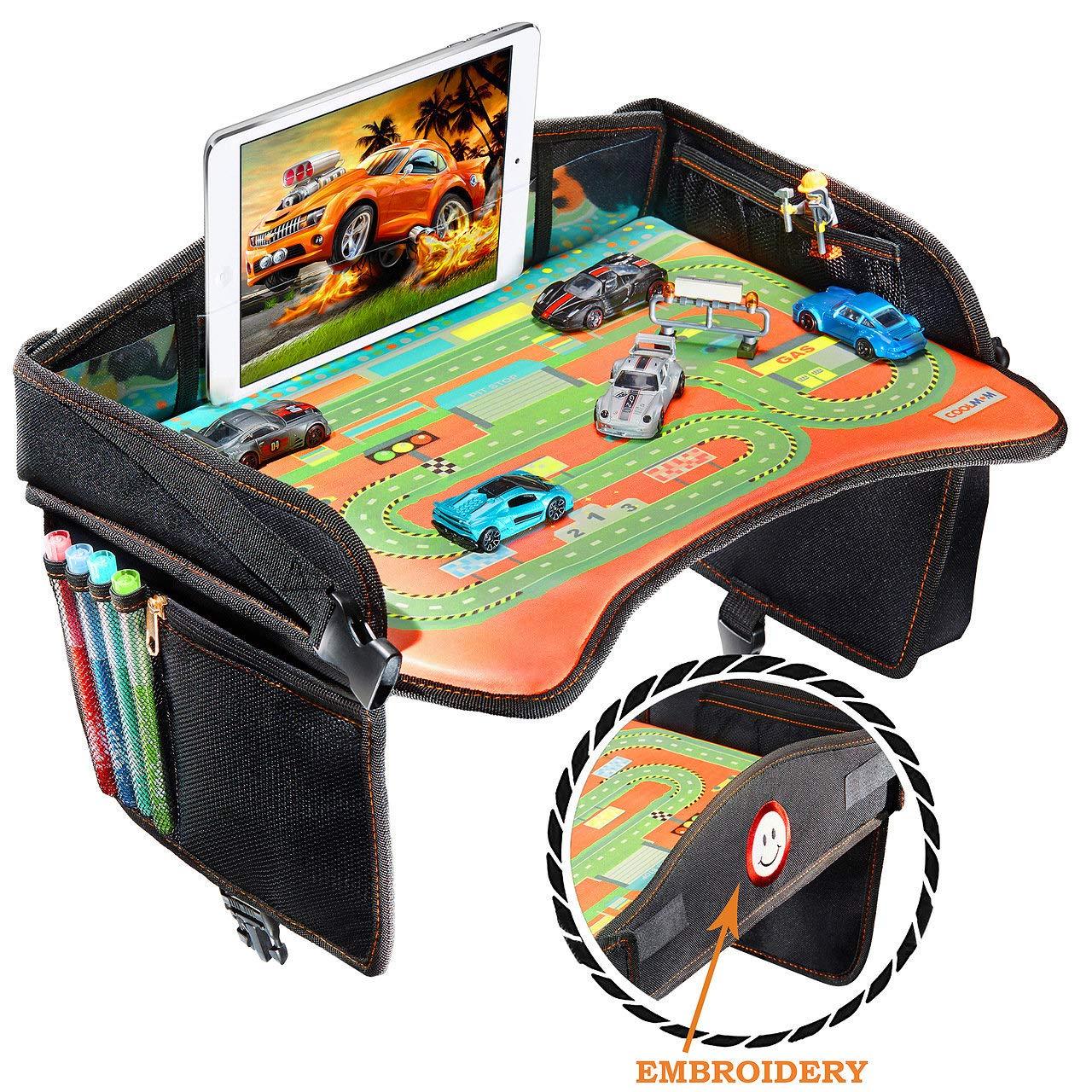Smart Travel Tray – Ideal as Kids Travel Tray – Toddler Travel Tray & Baby Stroller Tray – Travel Activity Tray & Play Tray – Baby Snack Tray & Kid's Car Seat Tray - Play Table (Premium Black)