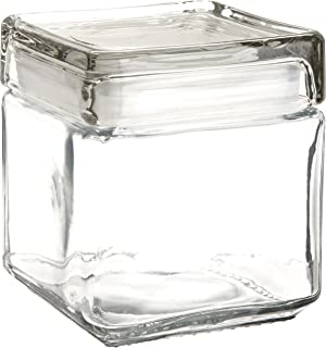 anchor hocking 85587r 1 quart stackable square clear glass storage jar case of 4