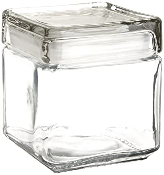 Anchor Hocking 85587R 1 Quart Stackable Square Clear Glass Storage Jar  (Case Of 4)