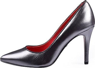 Zapatos De Salón Lucero para Mujer Anna Milan Gris Brillante ...