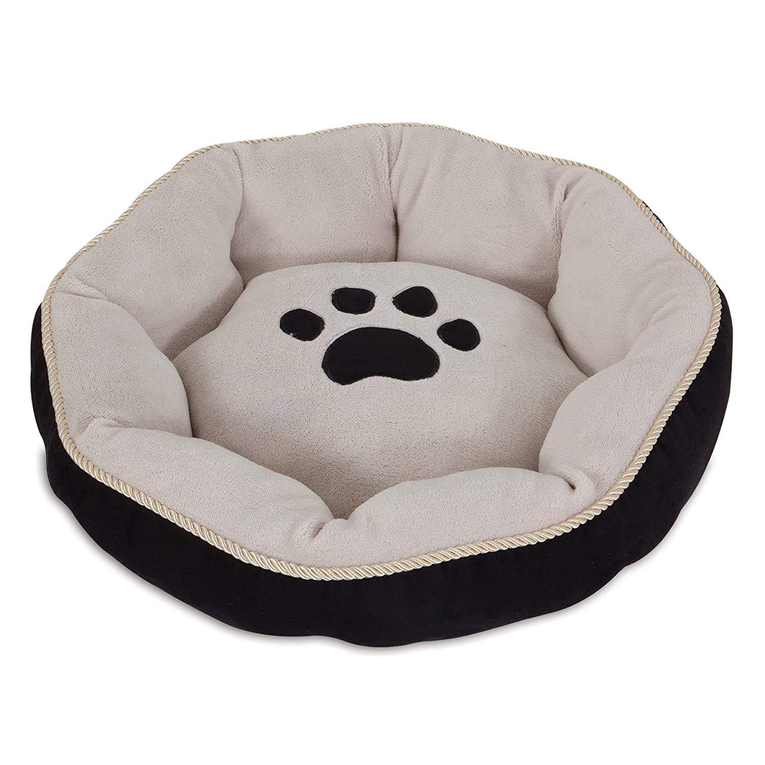 Aspen Pet Round Bed with Paw Applique & gold Cord, colors May Vary