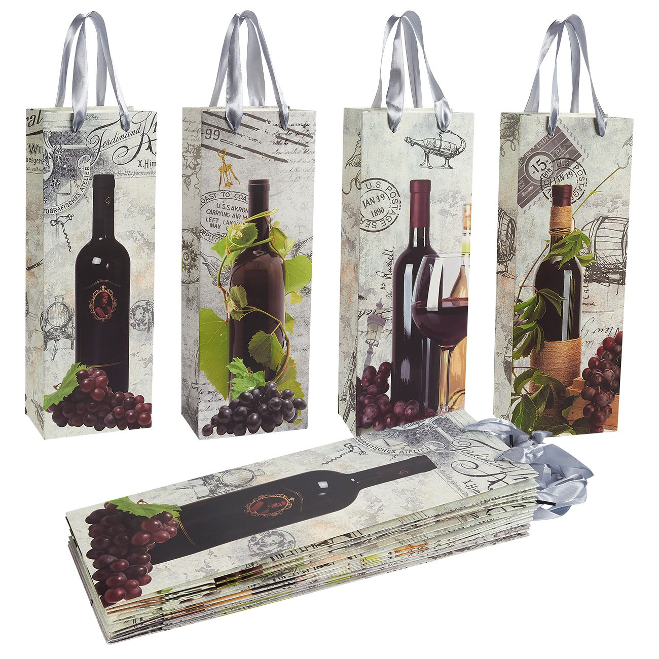 12-Pack Premium Wine Gift Bags, Bottle Carrying Picnic Tote, 4 Designs 36 x 13 x 7 cm Juvale