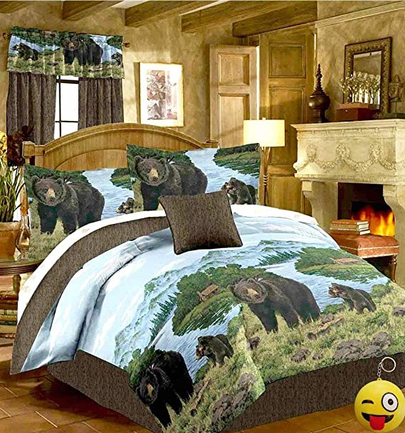 Rustic Cabin Lodge BLACK BEAR & CUBS 8pc Comforter Set w/Sheets