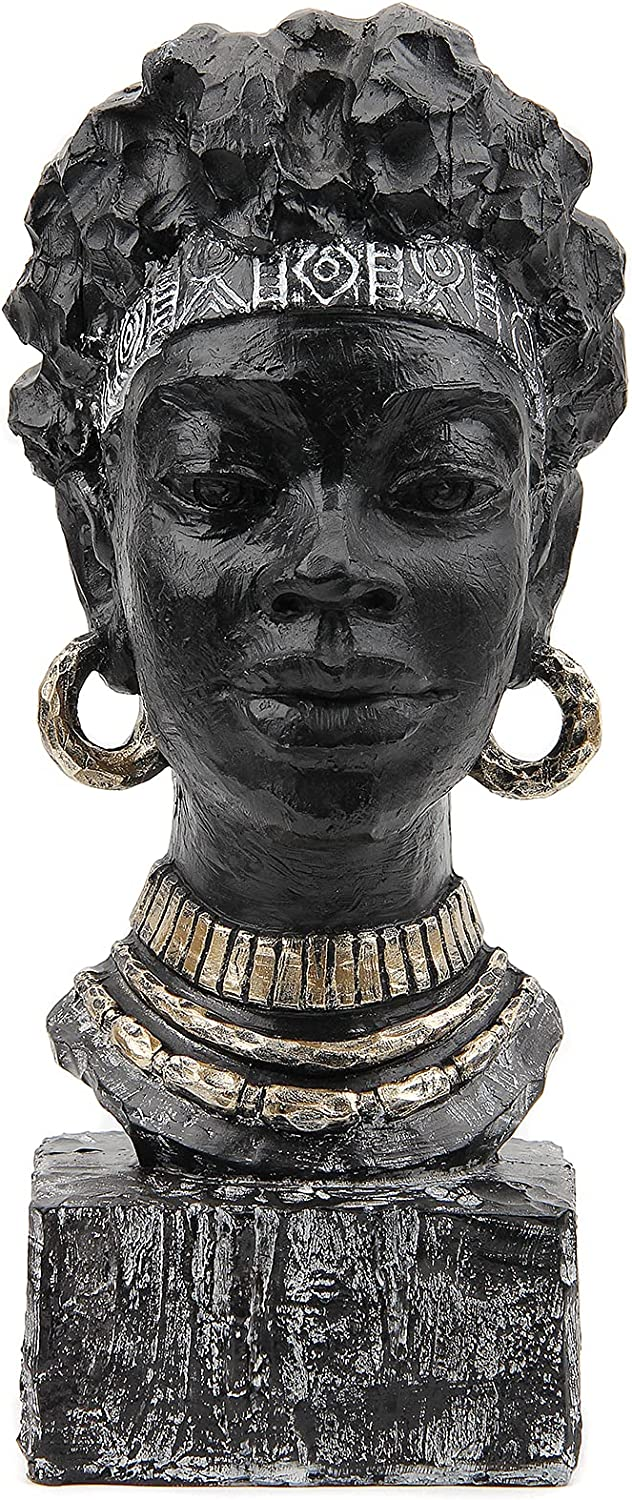 Leekung African Statues and Sculptures for Home Decor,African Figurines Head Statue Decorations for Home,African Art Sculptures Woman Statue Decor for Living Room Antique Black Color