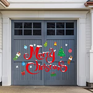 Whaline Christmas Garage Decoration Stickers 30Pcs Garage Door Decals Non-Magnetic Merry Christmas Xmas Tree Snowflake Reusable PVC Stickers with Foam Tape for Fridge Window Xmas Holiday Party Decor Supplies
