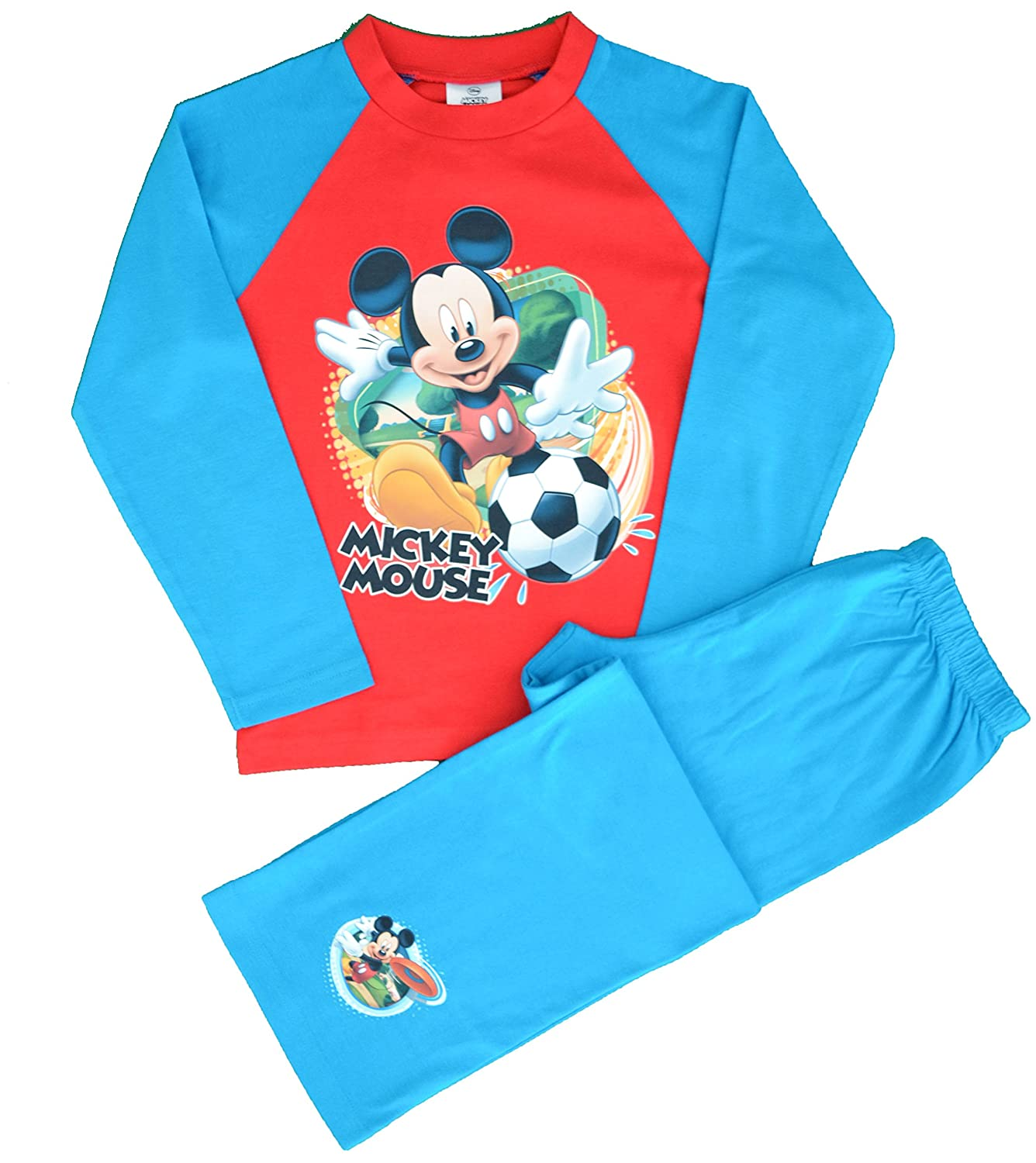Boys Disney Mickey Mouse Football Long Pyjamas Ages 12 Months to 5 Years