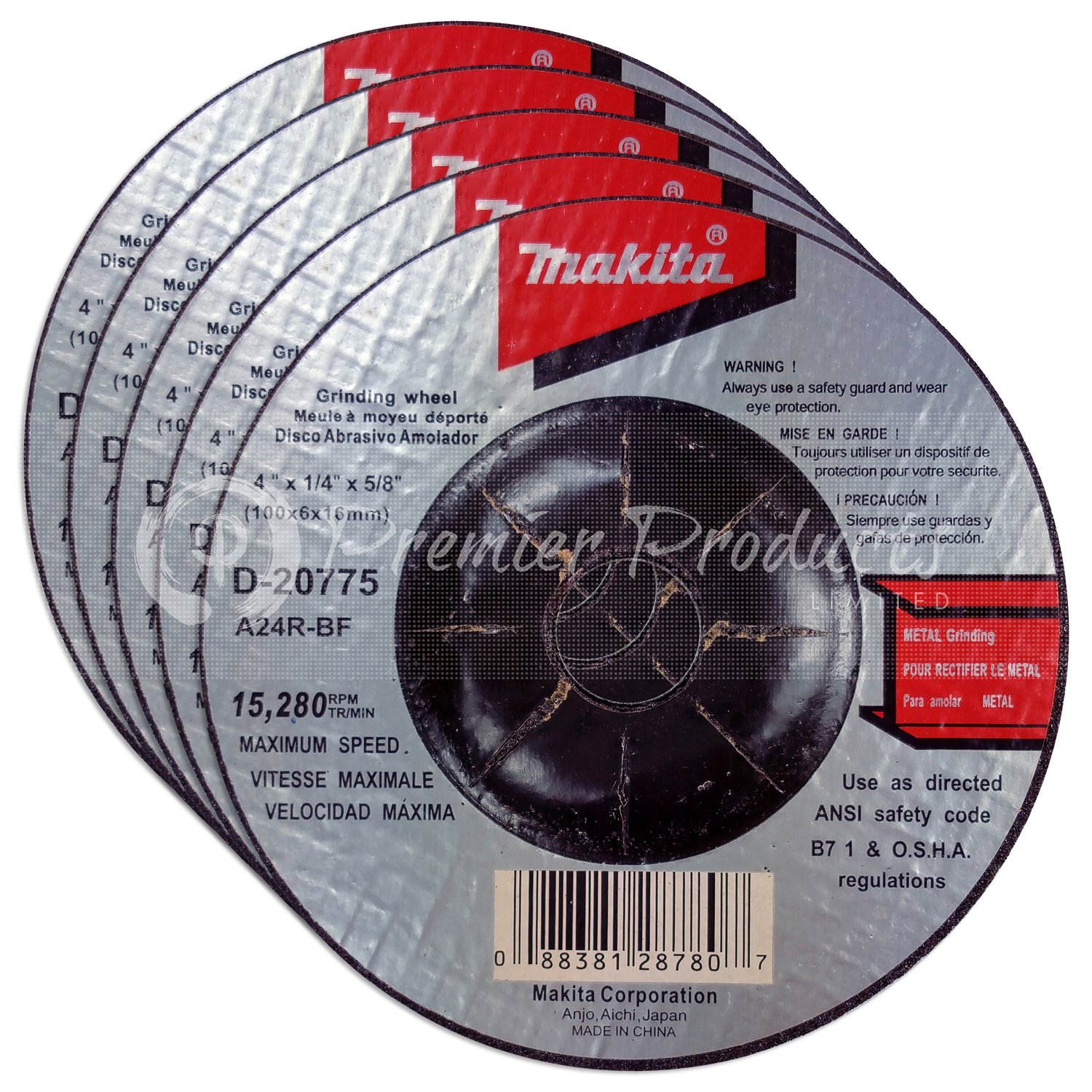 Makita 5 Pack - 4 Inch Grinding Wheel For Grinders - Aggressive Grinding For Metal - 4'' x 1/4 x 5/8-Inch   Depressed