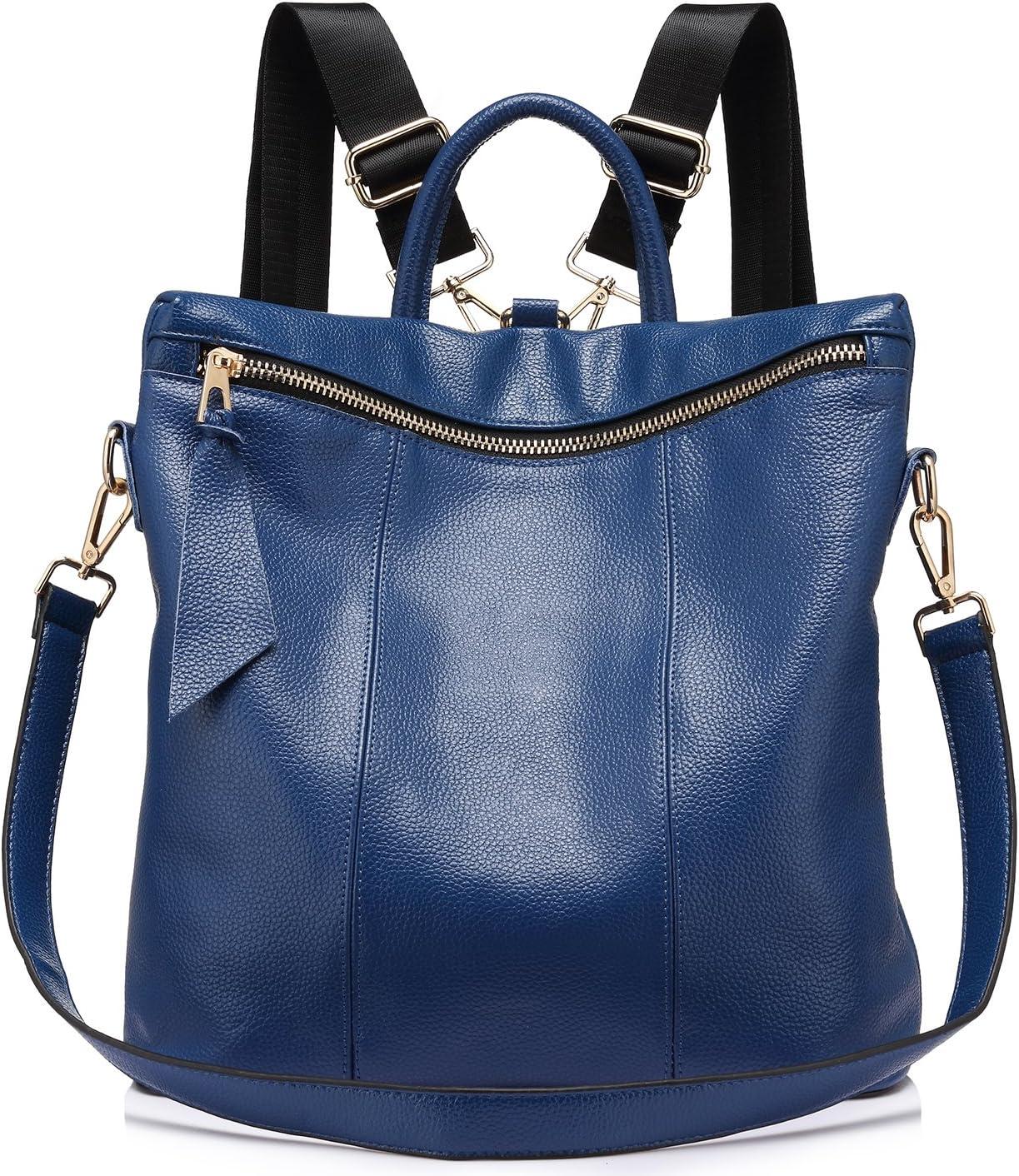 LOVEVOOK Mochilas Mujer Casual mochilas escolares Bolsa piel genuina Bolso De Hombro Mochila viajes vintage Azul