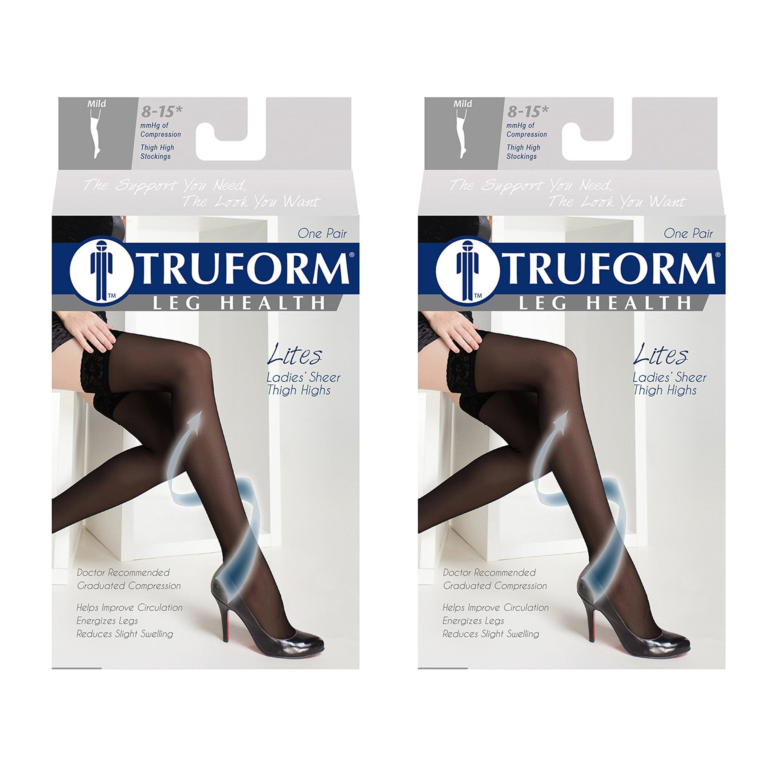 Truform Compression 8-15 mmHg Sheer Thigh High Stockings Black, Medium, 2 Count