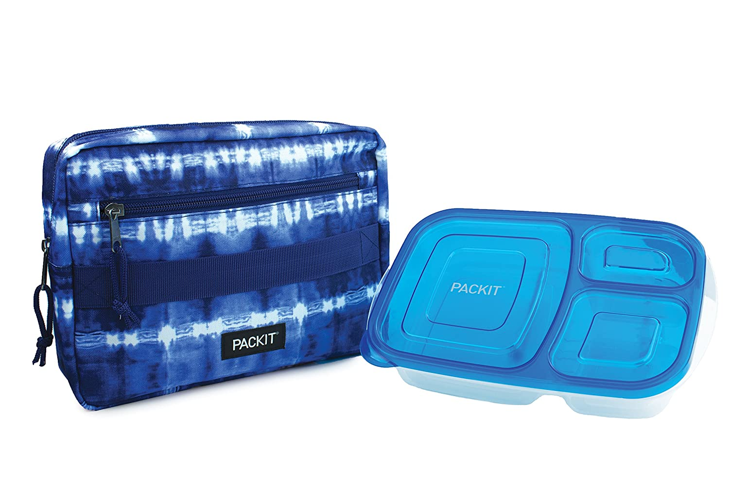 PackIt Freezable Bento Box Set: Freezable Sleeve and Reusable Bento Box Container, Tie Dye
