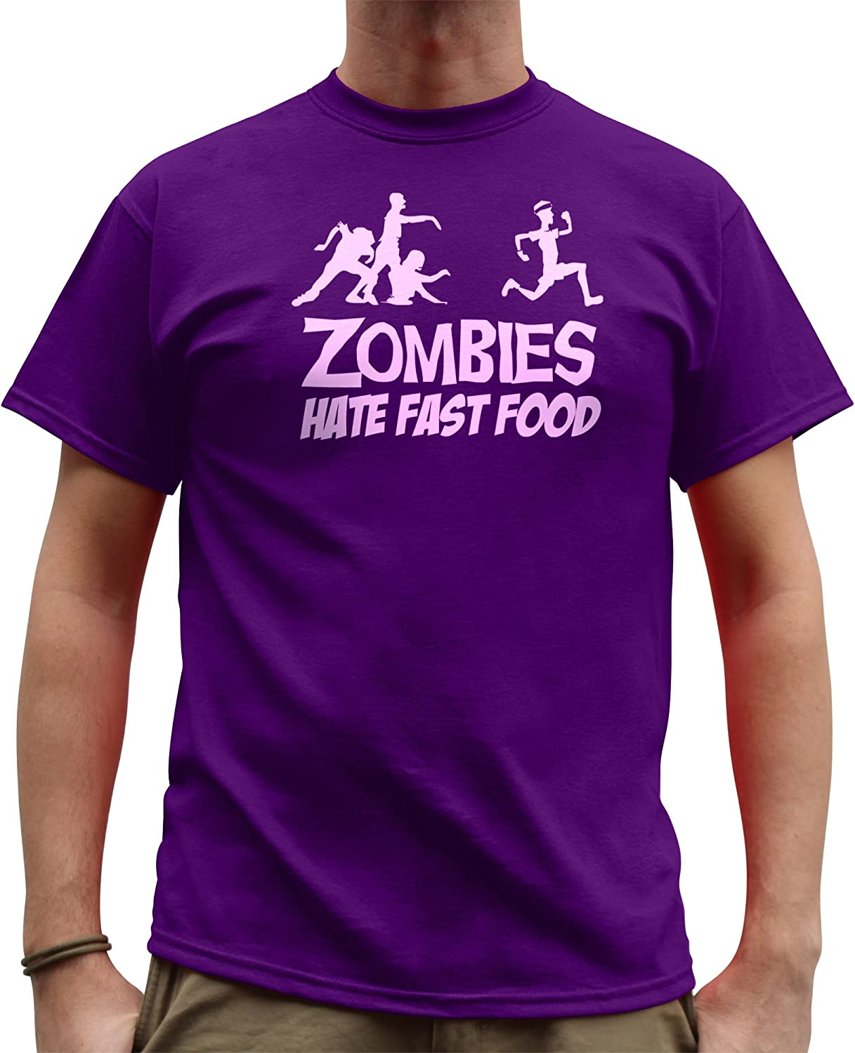 Nutees Men's Zombies Hate Fast Food Running Jogging Funny T Shirt