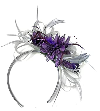 2704d7e344f40 Image Unavailable. Image not available for. Color  Silver Grey and Dark  Purple Net Hoop Feather Hair Fascinator ...