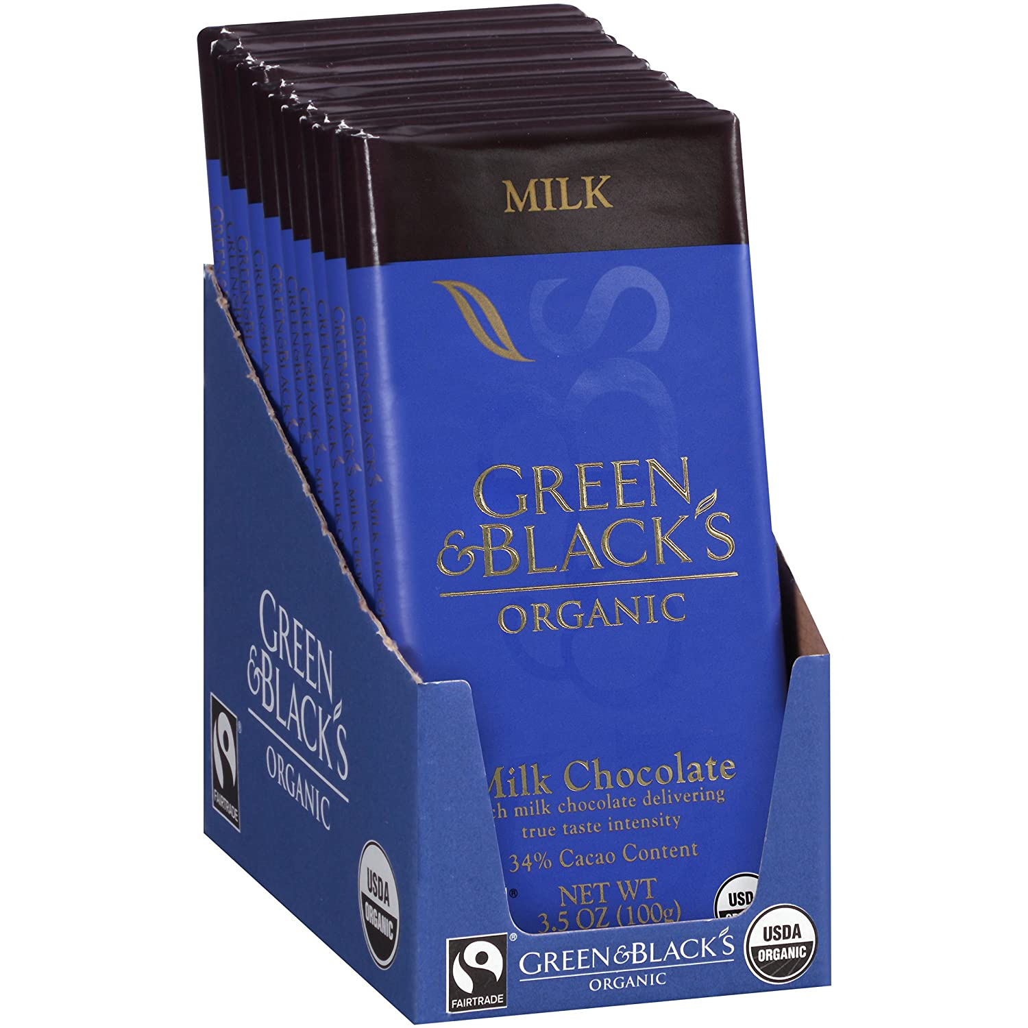 Green & Black's Organic Milk Chocolate, 34% Cacao, 3.5 Ounce Bars,10 count