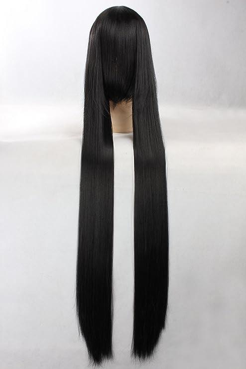 Eday Cosplay peluca Negro peluca extra larga Negro peluca recta Hino Rei Sailor Moon Pelucas