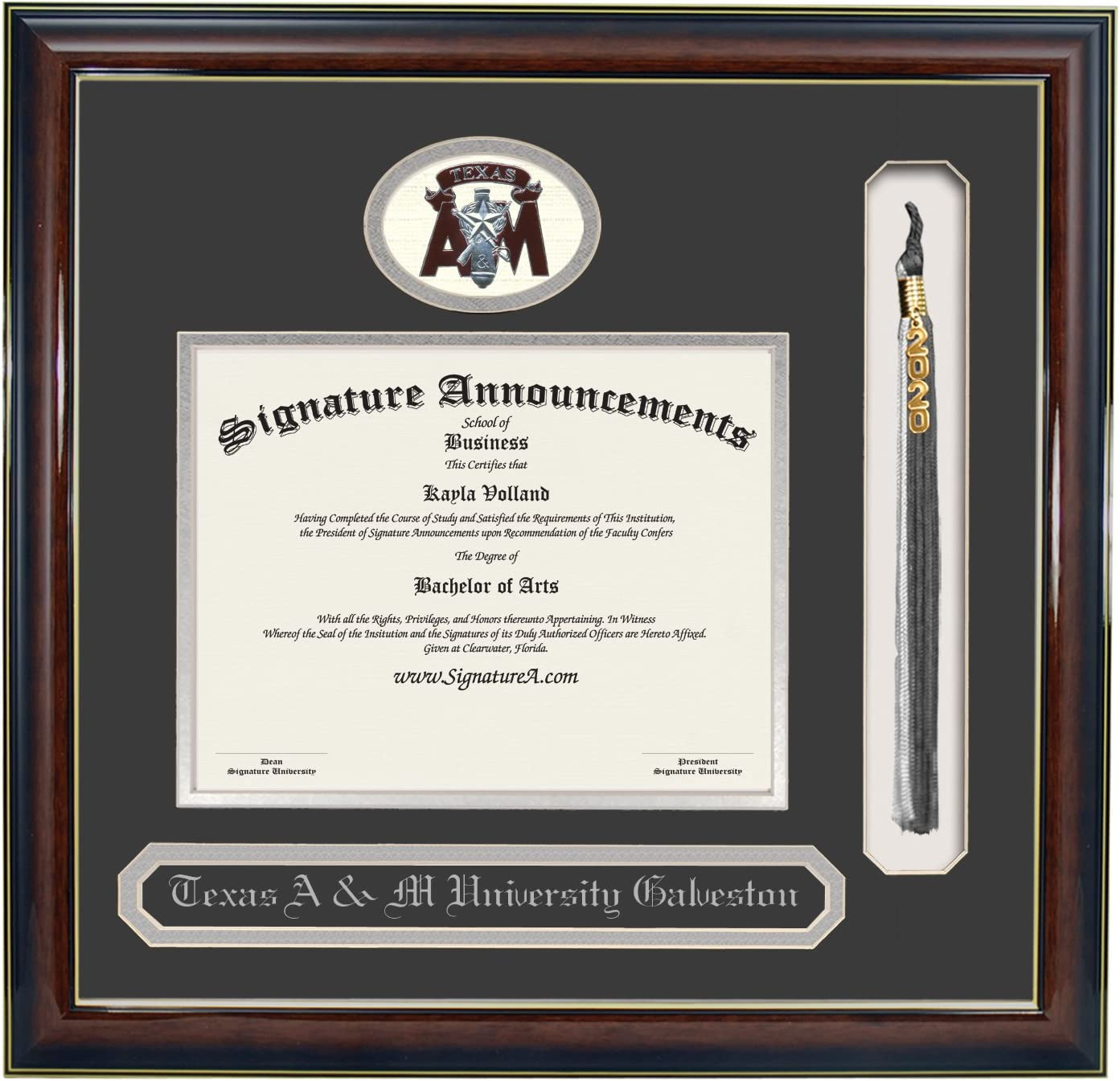 20 x 20 Signature Announcements Texas-A/&M-University-at-Galveston Undergraduate Doctorate Sculpted Foil Seal Name /& Tassel Diploma Frame Gloss Mahogany w//Gold Accent