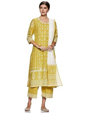 c26c52ef96e BIBA Women s Cotton Straight Salwar Suit Set (SKD5867  Lime Green  ...