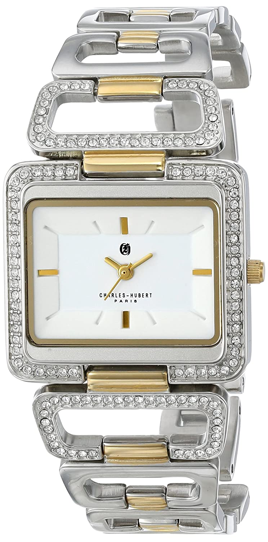 Charles-Hubert - Paris Damen-Armbanduhr Armband Edelstahl + GehÄuse Quarz Zifferblatt Weiß Analog 6833-T