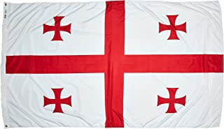 product image for Annin Flagmakers Model 192886 Republic of Georgia Flag Nylon SolarGuard NYL-Glo, 5x8 ft, 100% Made in USA to Official United Nations Design Specifications