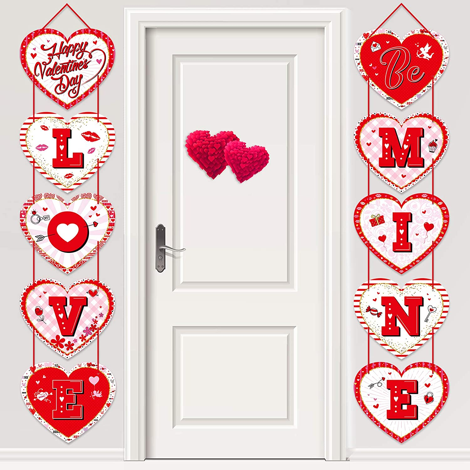 Love Be Mine Happy Valentines day decorations Door Banner Valentines Day Heart Banner Hanging Candy Heart Sign for Indoor Outdoor Wedding Engagement Anniversary Party Favor-Red