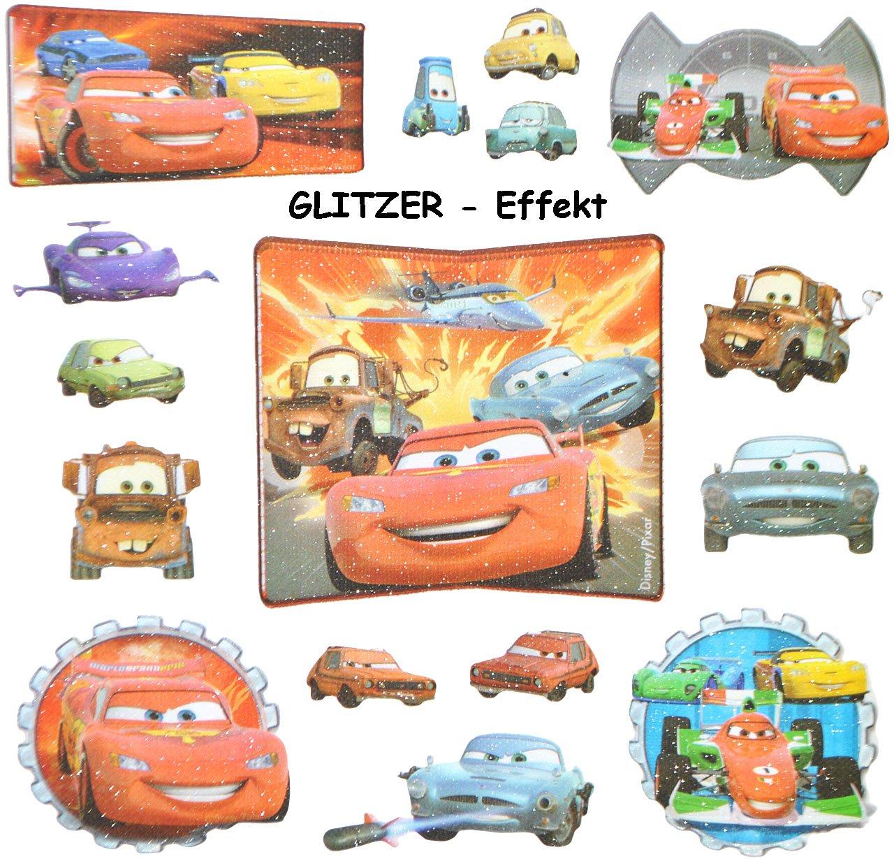 16 Stk. 3-D Sticker - Disney Cars Lightning McQueen - Aufkleber für ...
