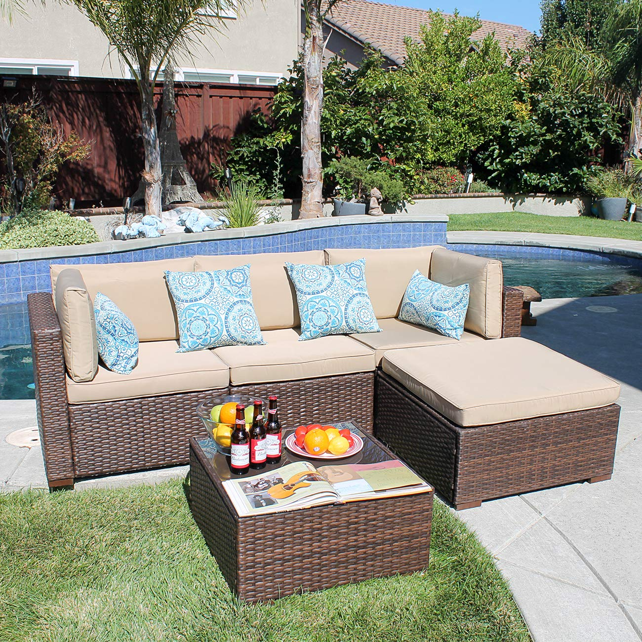 Patiorama 5PC Outdoor Patio Furniture Set All Weather Wicker Patio Sectional Sofa Set with Corner Sofa Chair Ottoman Table, Beige by Patiorama