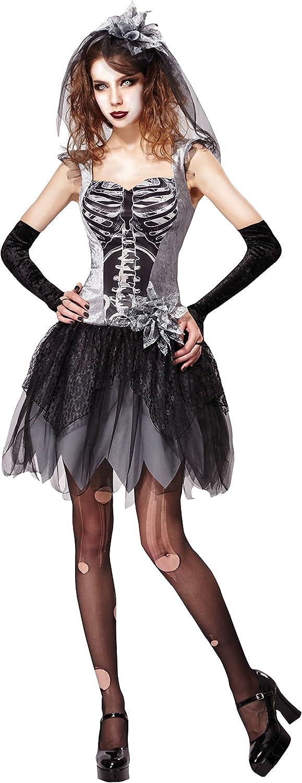 Bristol Novelty AF031 skelet bruid kostuum, grijs