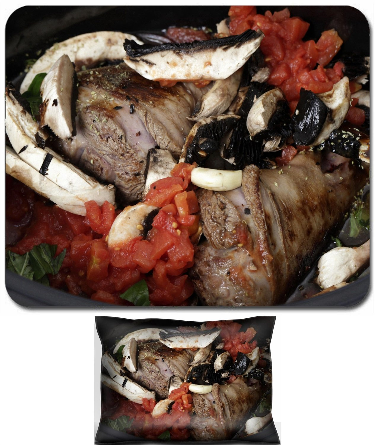 Luxlady Mouse Wrist Rest and Small Mousepad Set, 2pc Wrist Support design IMAGE: 25865932 Two lamb shanks lightly browned ready for cooking in a slow cooker or crockpot with mushrooms tomatoes basil r