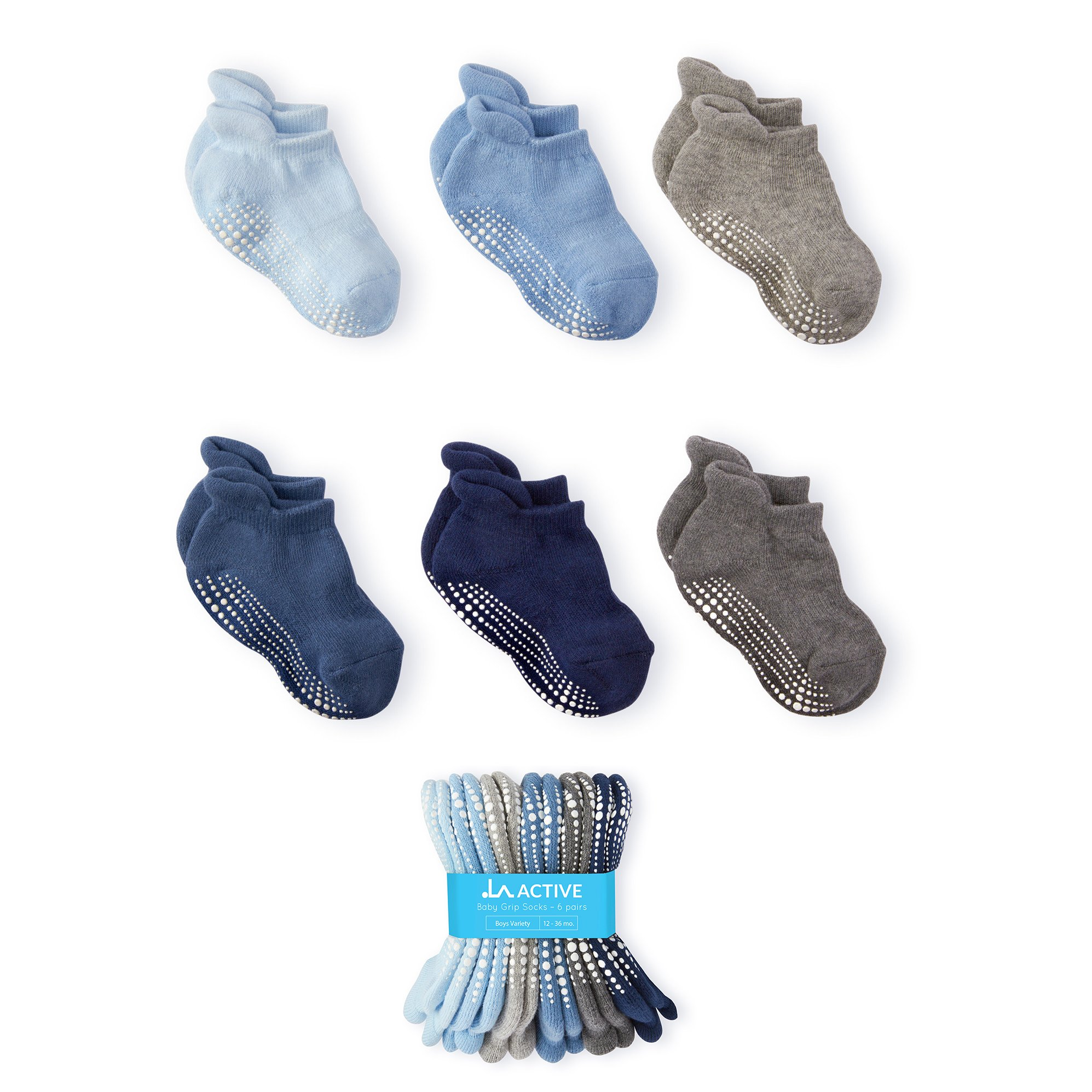 LA Active Baby Toddler Grip Ankle Socks - 6 Pairs - Non Slip/Skid Covered (Boys)