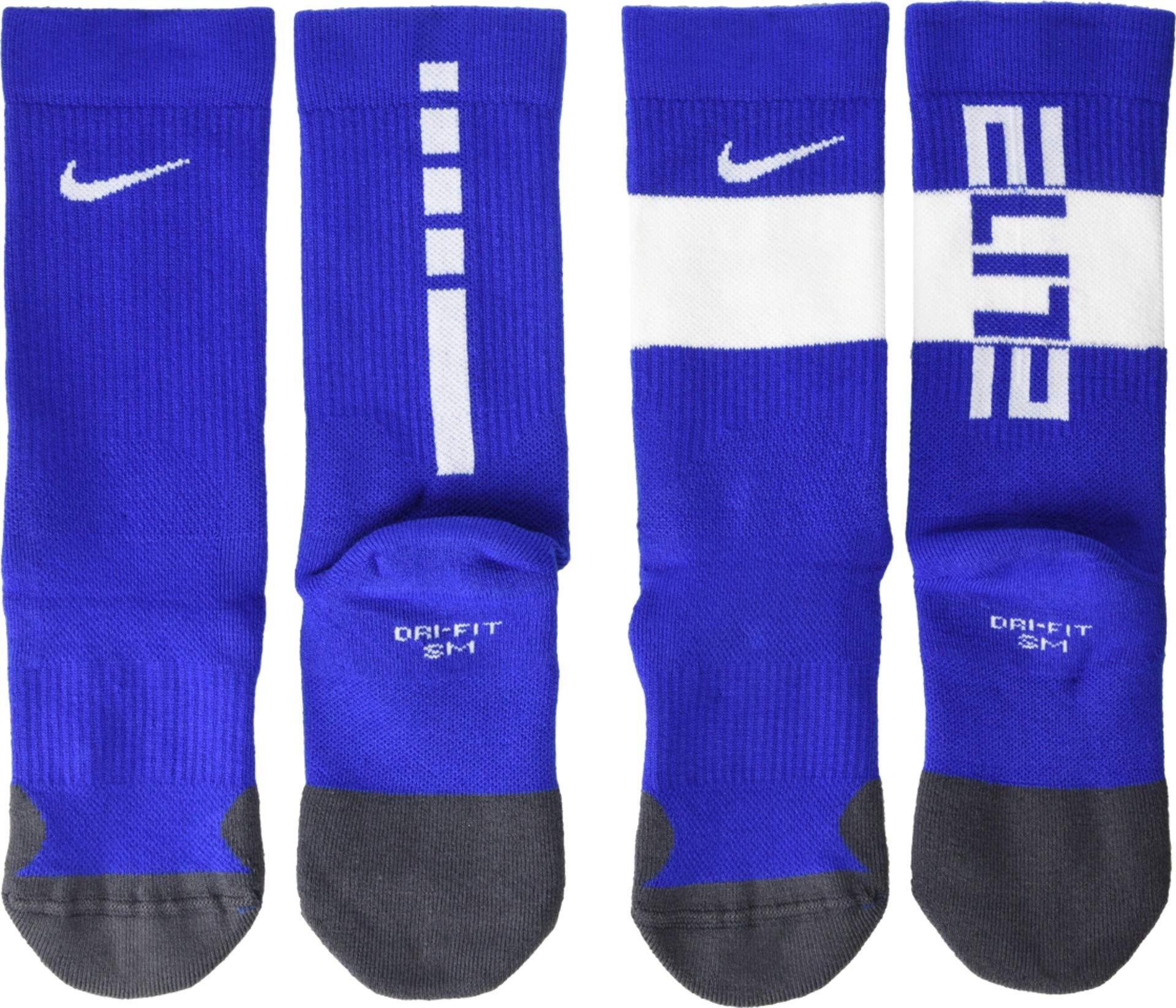 Nike Youth Elite Basketball Crew Socks 2 Pack (Game Royal/White, Medium) by Nike