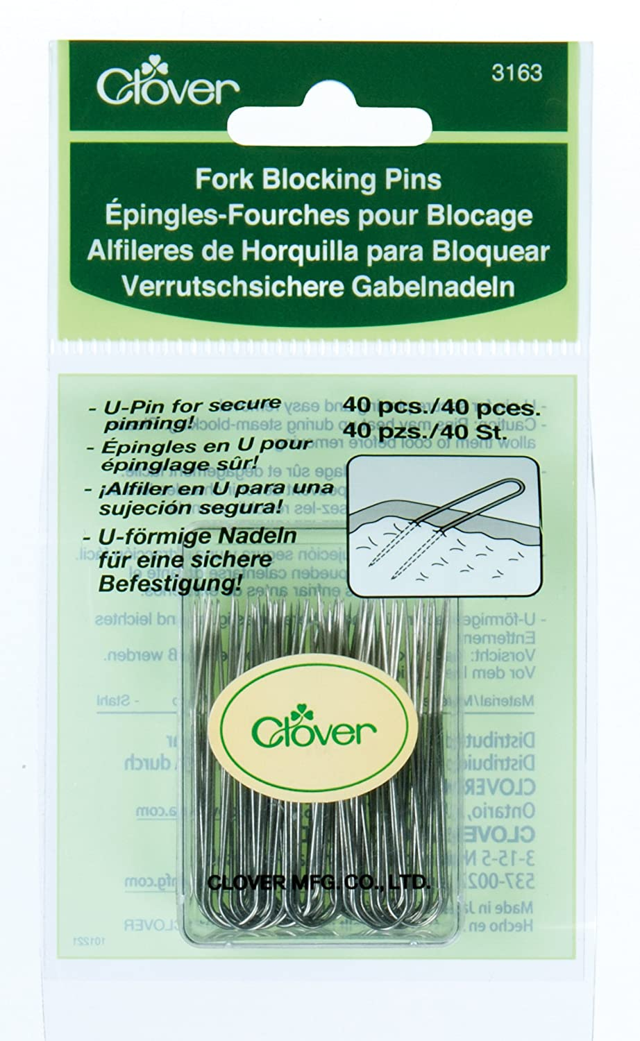 Clover 3163 Fork Blocking 40 Count U-Pins, 1-3/4-Inch CLOVER MFG. CO. LTD.